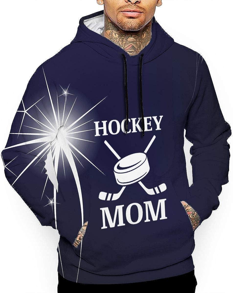 Mens Hoodie Sweatshirt Hockey Mom Hooded Pullover Tops Long Sleeve Drawstring Pocket