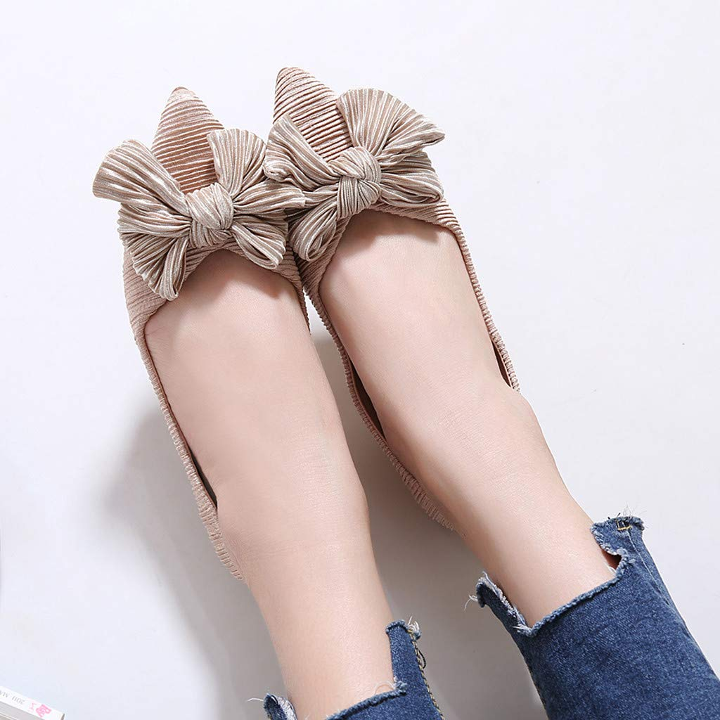 Reokoou Women Low Heel Shoes Pionted Toe Slip On Casual Ladies Shoes Spring and Summer