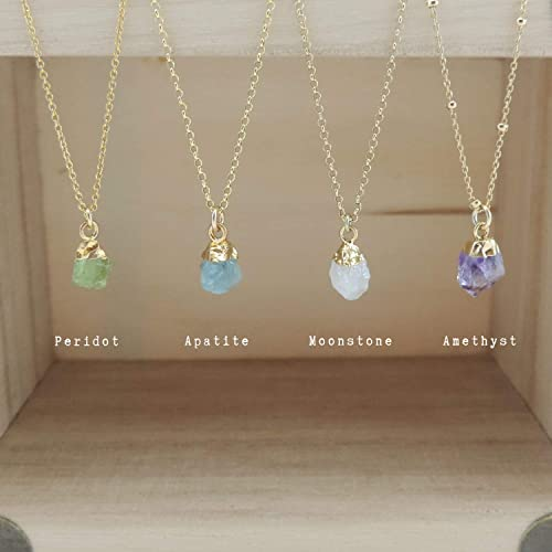 Necklace Satellite chain Stone Pendant,Stone Charm,Quartz pendant Gold filled