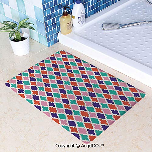 SCOXIXI Durable Printed Soft Kitchen Dining Room Floor Mat Colorful Mosaic Tiles Oriental Asian Islamic Ikat Indonesian Patterns Motifs Decorative Home Decorate Non-Slip Bathroom W31.5xL47.2(inch)