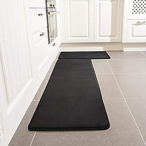 Kitchen Rug Set, LEEVAN Memory Foam Kitchen Comfort Mat Super Soft Rug Microfiber Flannel Area Runner Rugs Non-Slip Backing Washable Bathroom Rug Set of 2 Pcs (15''x23''+15''x47'', Black)