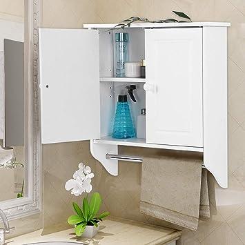 Gototop Armoire Murale Toilette Salle De Bain Blanc En Bois