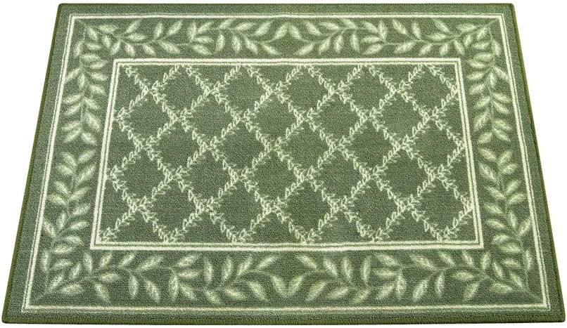 """Two-Tone Lattice Rug with Leaf Border with Skid-Resistant Backing, Home Decor and Floor Protection, Sage, 26"""" X 60"""""""