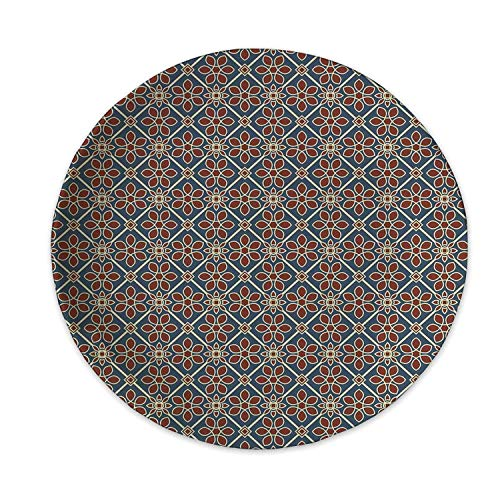 Eastern Ceramic Decorative Plate,Mehndi Style Cultural Motif Swirled Curved Petals Wild Flora Themed Squares Decorative for Home Decorative,6 inch