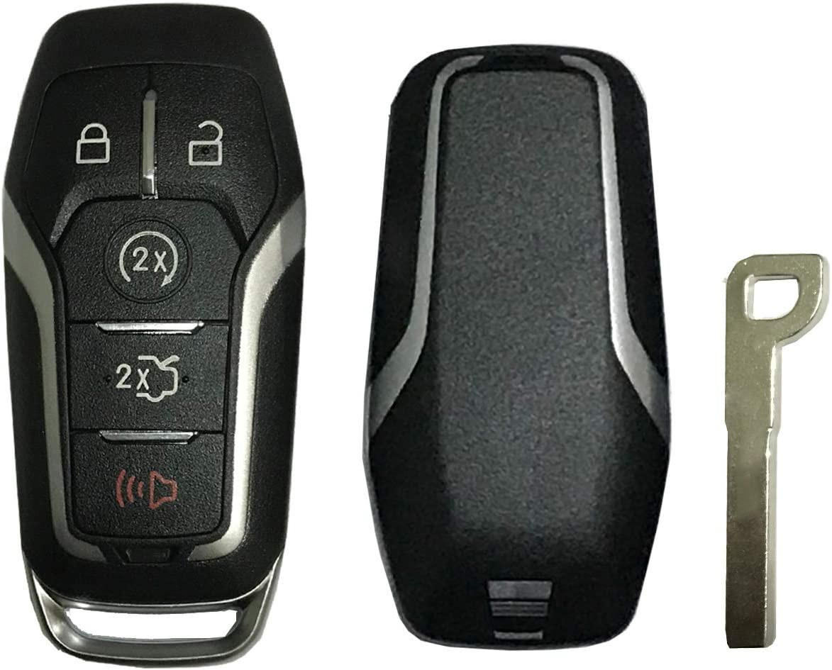 Replacement Key Fob Case Shell Fit for Ford Edge Explorer Mustange Fusion 5 Buttons Keyless Entry Smart Remote Key Fob Cover Casing with Uncut Blade Blank Black