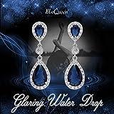 EleQueen 925 Sterling Silver Full Prong Cubic Zirconia Birthstone Teardrop Bridal Dangle Earrings