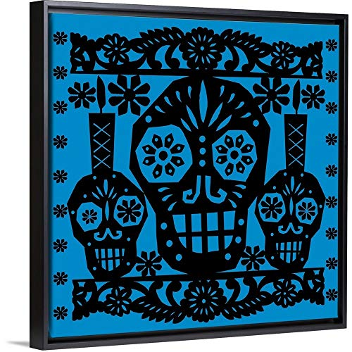 Luis Fitch Floating Frame Premium Canvas with Black Frame Wall Art Print Entitled Happy Skulls Papel picado 1 30
