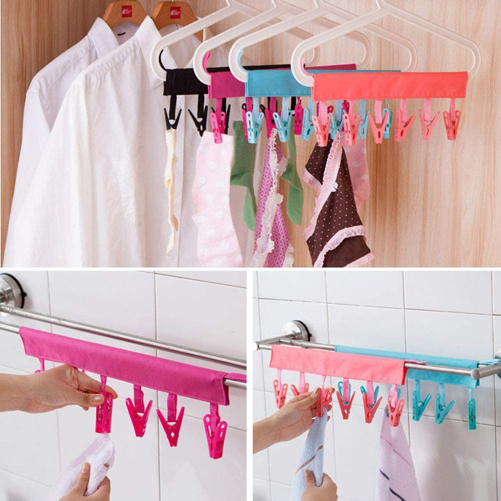 Portable Socks /& Underwears Hangers Folding Clothes Hangers with 6 Clips Great for Travel Home Pack of 4 colors Multifunctional Cap Organizer Hanger