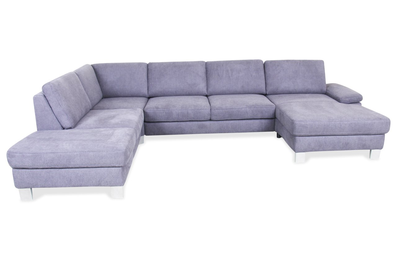 Sofa Wohnlandschaft Mit Sitzverstellung Grau Webstoff Grau