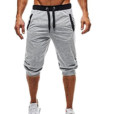 Men's Capri Pants - Men 3/4 Gym Workout Jogging Elastic Sport Shorts Pants with Pockets - Casual Breathable Below Knee Sportswear (M, Gray): Toys & Games