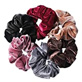 Whaline 6 Big Hair Scrunchies Velvet Elastics Large Hair Bobble Scrunchy Hair Bands Women Soft Hair Ties, 6 Colors