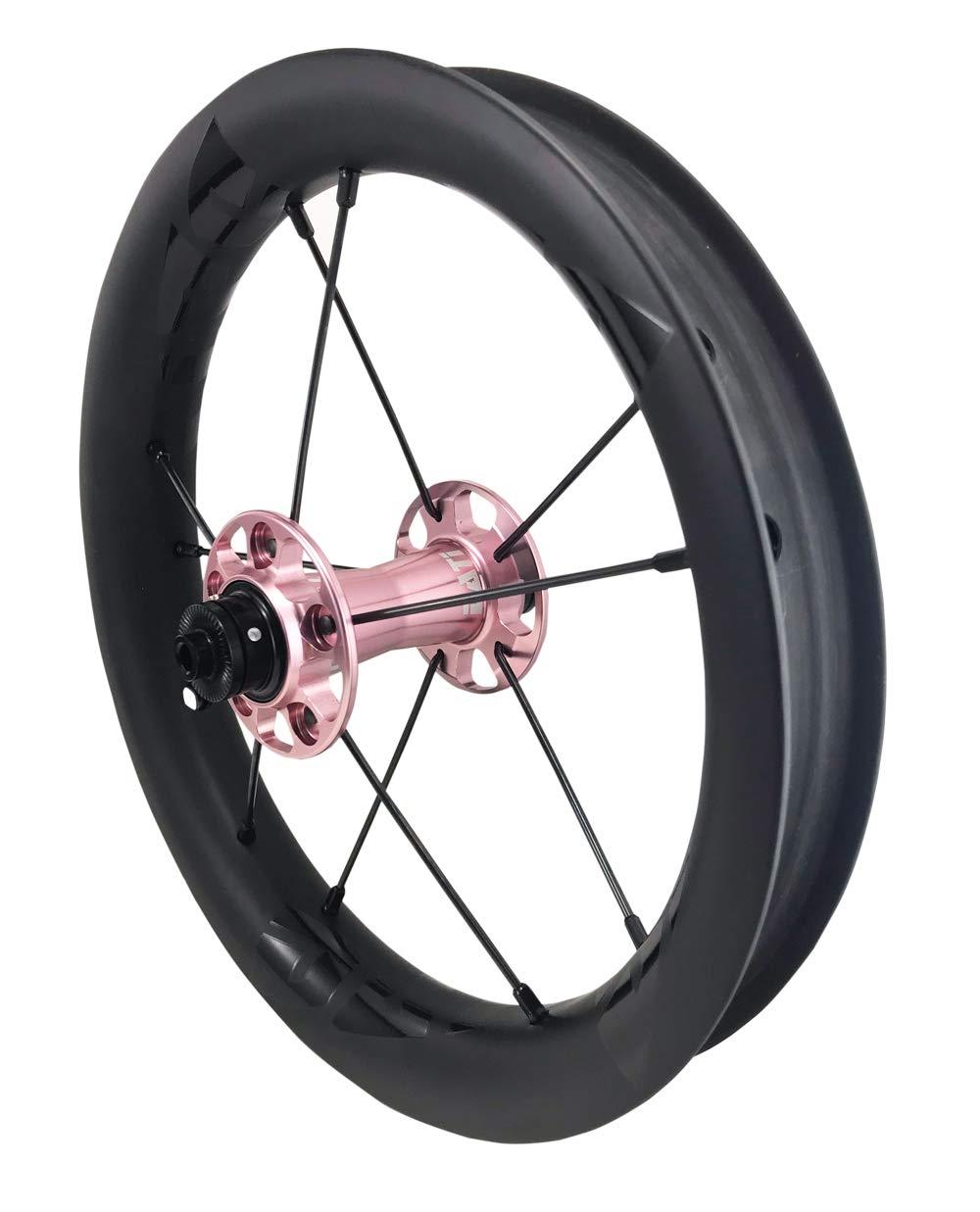 DATI 12インチ S8C-SCW Race series professional (炭素繊維 リム) レース レベル. 低抵抗.スムーズ.バランスバイク Kids Balance Bike Bicycle Super light 子供自転車ホイール 204g/wheel B07LCMHN3M BIXBI PUKY: 90*10MM Pink/Black logo Pink/Black logo BIXBI PUKY: 90*10MM