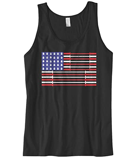 6e959728340f2 Amazon.com  Cybertela Men s Dumbbell Bar American Flag Workout Gym Tank Top   Clothing