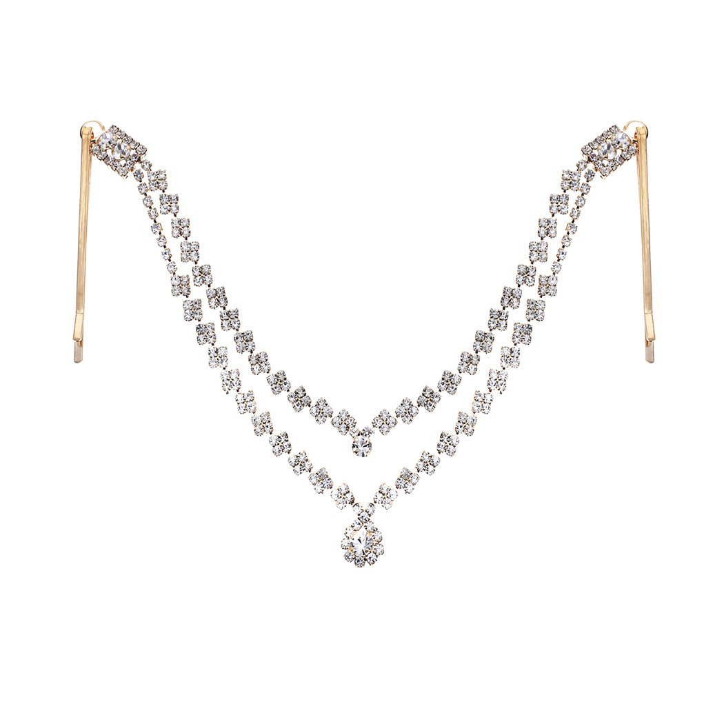 Rosemarie Collections Women's Tikka Hair Comb Rhinestone Double Strand With Large Center Stone Head Chain (Gold)