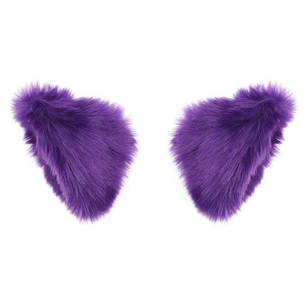 636188a19fe BAOBAO Cat Fox Long Fur Ears Hair Clip Headwear Cosplay Halloween Costume