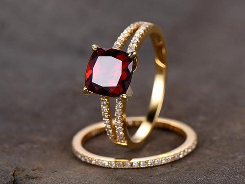 1CT Red Garnet /& Diamond Eternity Ring 14K Yellow Gold