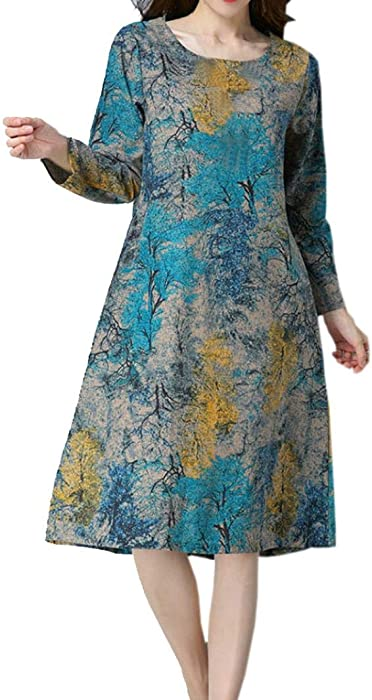 JYC Vestido para Mujer Manga Larga Vestido,Vestido de Otoño Invierno Mujer, Vestido Elegante Casual, Moda Mujer Largo Manga O Cuello Bolsillo Algodón Lino ...