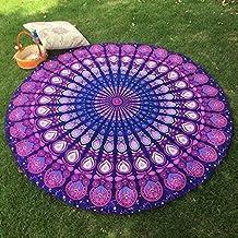 beautiful Round Tapestry mandala ,Circle Beach Tapestry Towel Wall hanging Hippie Boho Gypsy Cotton Tablecloth Beach Towel , Round Yoga Mat towel 48''