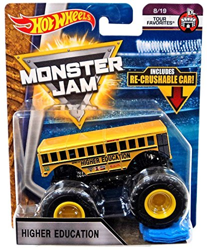 Hot Wheels Monster Jam 2018 Tour Favorites Higher Education (School Bus) With Re-Crushable Car 1:64 Scale