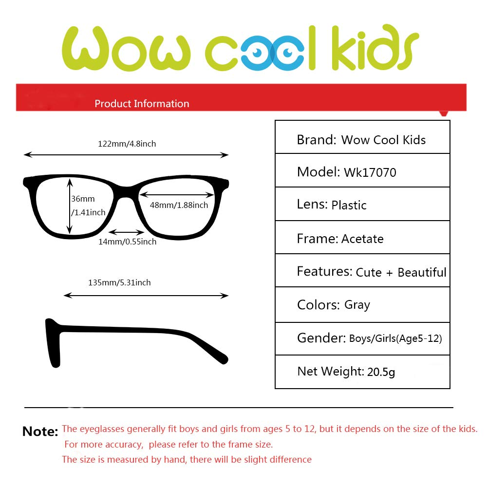 Teens Children Kids Glasses with Square Clear Lens for Boys Girls Gray Pink Age 5-12)