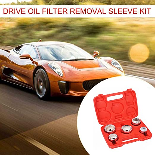 5pc 3//8 Inch Drive Oil Filter Remover Socket Set Universal Wrench Tool Kit
