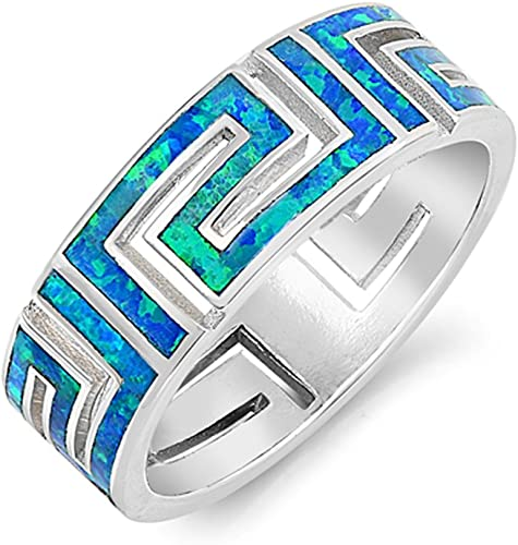 Blue Lab Opal Spiral Knuckle Cocktail Ring .925 Sterling Silver Band Sizes 5-10