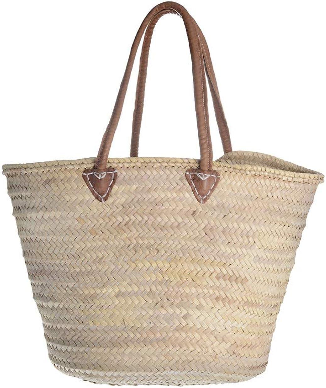 Afrikan Bags - Bolso Capazo de Palma | Bolso de Palma de Base Oval con Asa de Cuero Redonda en Cuero Marrón