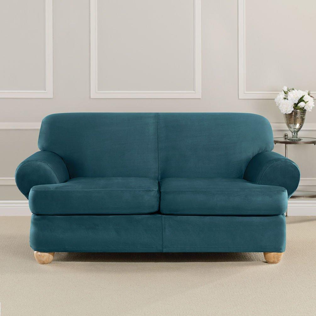 Sure Fit究極Heavyweightストレッチスエード個々2 Piece t-cushion Loveseat Slipcover – ピーコックブルー   B01BLNI1NW