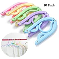 10pcs Portable Folding Plastic Clothes Hangers Racks for Outdoor Camping Travel (Random Color)