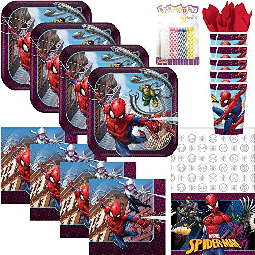 Lobyn Value Pack Spiderman Party Supplies Pack Serves 16: Dessert Plates, Beverage Napkins, Cups, Table Cover, and Birthday Candles (Bundle for 16) ()
