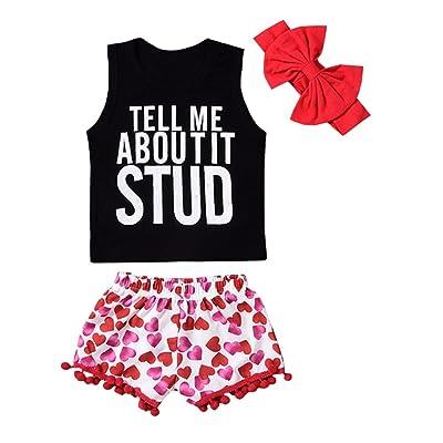 OUTGLE Baby Girl Clothes Toddler Girl Sleeveless Tank Top + Love Tassel Shorts + Bow Headband Summer Outftis Set