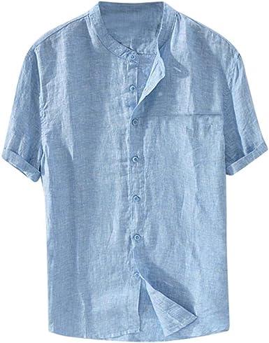Camisa Lino Hombre Casual SHOBDW 2019 Cuello Redondo Botón Suelto Tallas Grandes Blusa Tops Color Sólido Verano Camisetas Hombre Manga Corta S-XXL: Amazon.es: Ropa y accesorios