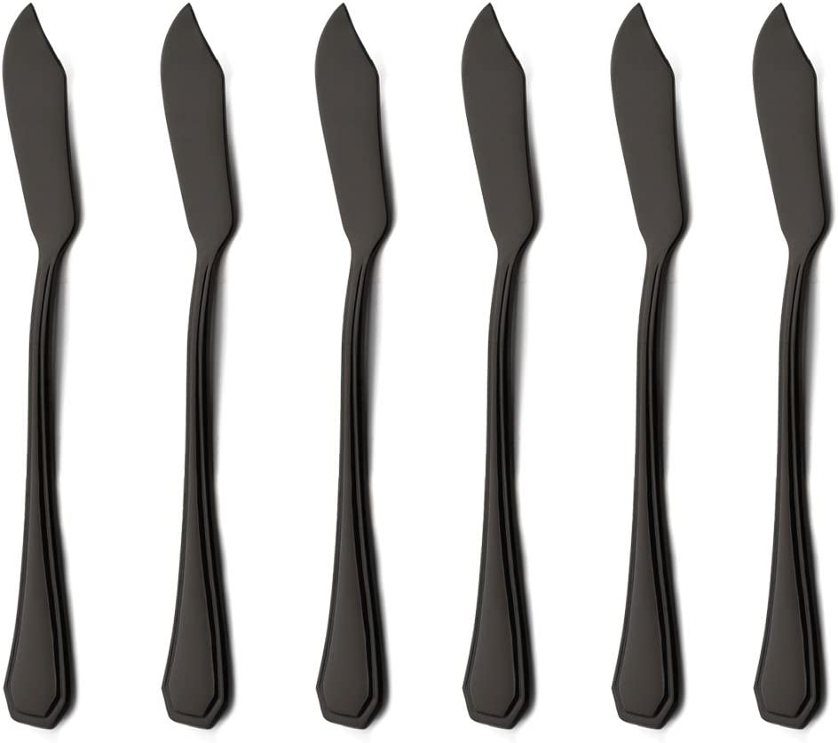 6 Piece Black Butter Spreader Knife Set 6.8 inch 18/0 Stainless Steel Cheese Spreader Knives Sets Silverware Set for 6 Mirror Polished Dishwasher Safe for Kitchen Home by Onlycooker