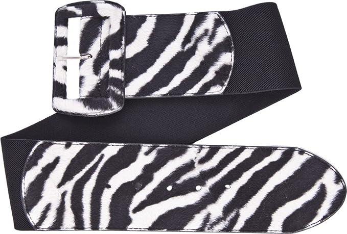 Vintage Retro Belts White & Black Zebra Print on Black Wide Stretch Belt from Sourpuss Clothing $7.99 AT vintagedancer.com