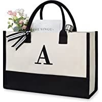 Personalized Initial Canvas Beach Bag, Monogrammed Gift Tote Bag for Women