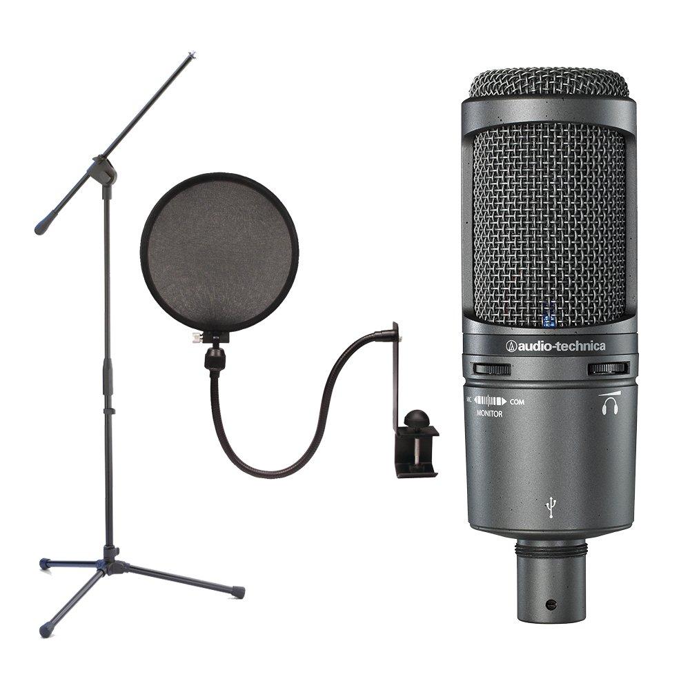 Audio Technica AT2020USB + Plus Micrófono de condensador con soporte de pluma y filtro pop