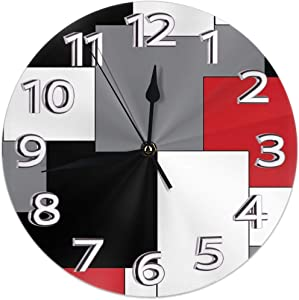 NA White,Grey,Black and Red Irregular Geometric Wall Clock Waterproof Decorative Clocks Durable Round Wall Clock Lightweight Clock with Roman Numeral Hands for Living Room Classroom Patio Bedroom