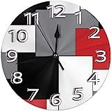 NA White,Grey,Black and Red Irregular Geometric Wall Clock Waterproof Decorative Clocks Durable Round Wall Clock Lightweight