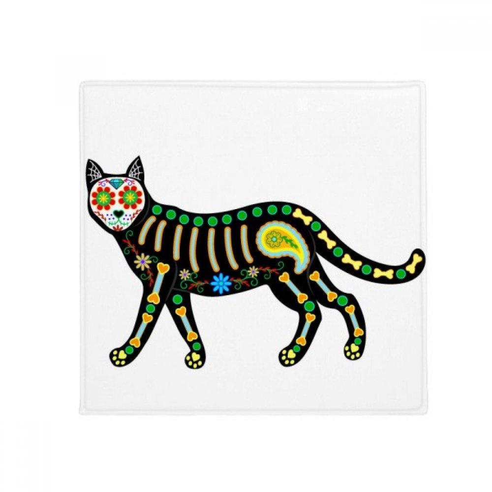 DIYthinker Bone Heart Black Cat Halloween Terror Anti-Slip Floor Pet Mat Square Home Kitchen Door 80Cm Gift