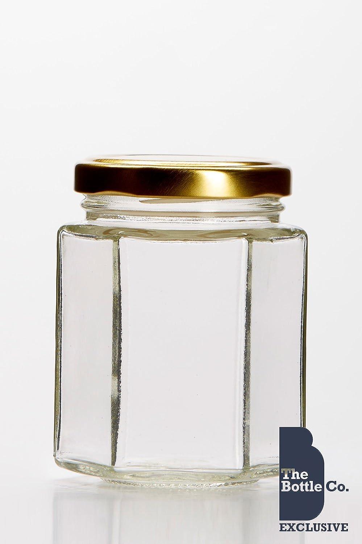 BOTTLE COMPANY 72 x 8OZ/190ML APPROX HEXAGONAL GLASS JAM JARS,CHUTNEY,PRESERVE,PICKLE,CANDLE,SWEET,HONEY,WEDDING FAVOURS JAR C/W GOLD LIDS 8HEX72