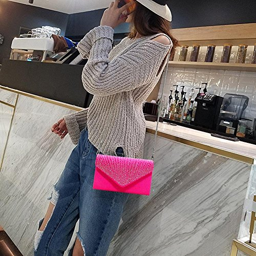 with Pink Rhinestone Evening Chain Party Hot Satin for Detachable Women's Clutch Bag Envelope Decorated iShine Bag Wedding qwfazAF5