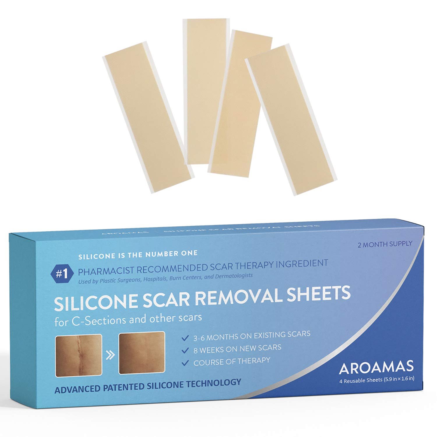 """Aroamas Professional Silicone Scar Removal Sheets for Scars Caused by C-Section, Surgery, Burn, Keloid, Acne, and more, Soft Adhesive Fabric Strips, Drug-Free, 5.7""""×1.57"""", 4 Reusable pcs (2 Month Supp"""