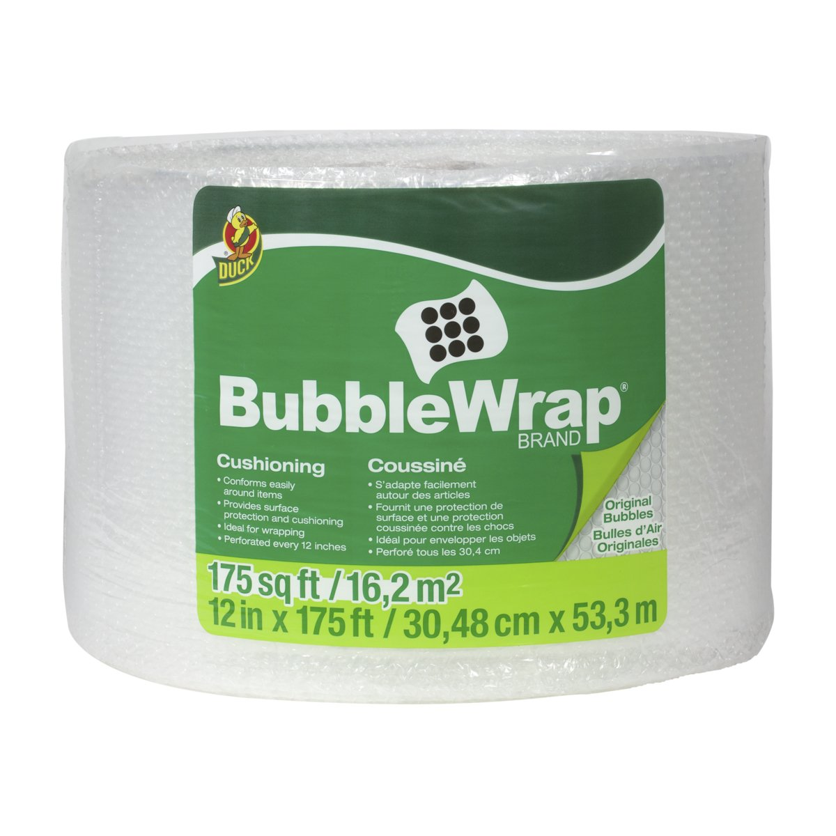 Duck Brand Bubble Wrap Roll, 3/16'' Original Bubble Cushioning, 12'' x 175', Perforated Every 12'' (1053440)