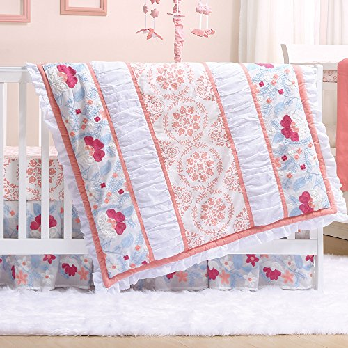 Camilla Coral Floral 3 Piece Baby Crib Bedding Set by The Peanut Shell