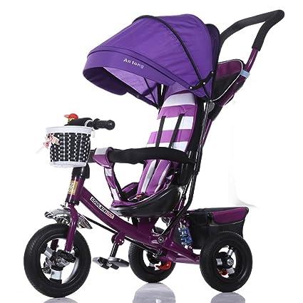 Triciclo Para Niños Toldo De Ajuste Plegable Amortiguador De Espuma Rueda De Espuma Bicicleta 1-