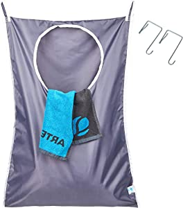 HOMEST Door Hanging Laundry Hamper Bag for Machine Washable, with Stainless Steal Door Hooks, Top Large Open & Bottom Zips for Space Saving, Grey