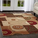 Home Dynamix Tribeca Hiram Area Rug | Contemporary Living Room Rug | Abstract Geometric Patterns | Rich Earth Tones | Multi-Beige 5'2″ Round For Sale