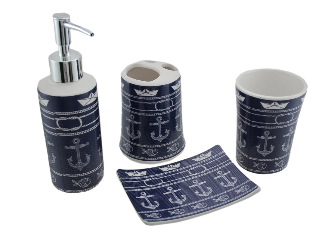 Ceramic Bathroom Accessory Sets Blue And White Coastal Anchor Print 4 Piece Ceramic Bath Accessory Set 3.25 X 7.5 X 2.5 Inches Navy
