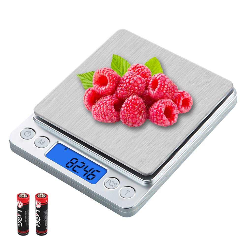 UNIWEIGH Digital Kitchen Scale, 500g/0.01g Gram Scale,Cooking Food Scale Digital Weight Grams and OZ with LCD Display,Small Jewelry Scale with 2 Trays,Auto Off, Tare,Stainless Steel
