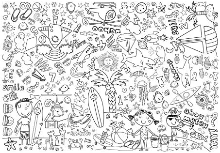 Beach and Space 3 pcs Toy BTC-14518 C.R Gibson Gibby /& Libby Kids Giant Coloring Sheets